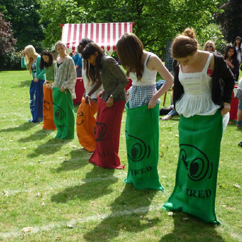 Sack Racing Backyard Game with 5 Coloured Sacks