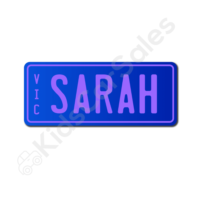 Unbranded Blue / Lavender Personalised Mini Number Plate for Kids Ride-On Cars