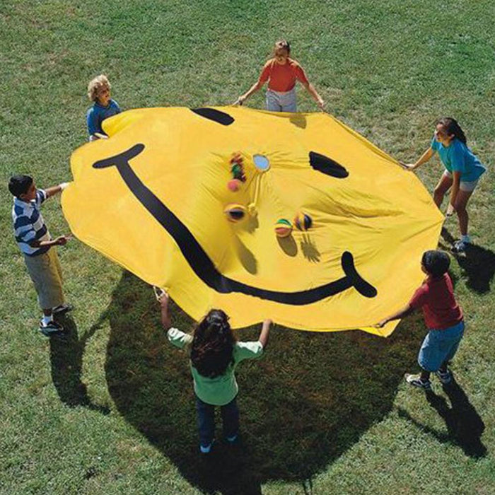 Smiley Face Playchute With Handles 3.6m Diameter