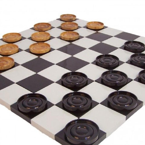 Teak 38cm Timber Giant Checkers Set