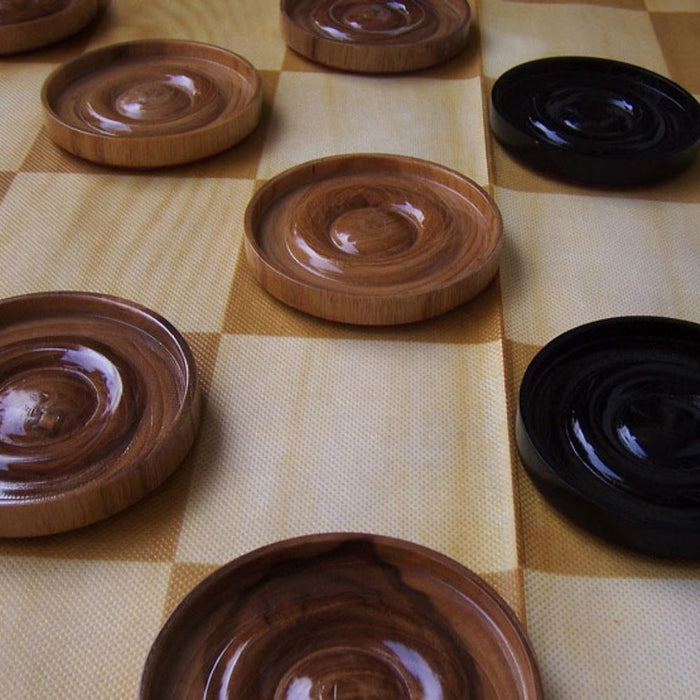 Teak 9cm Timber Giant Checkers Set