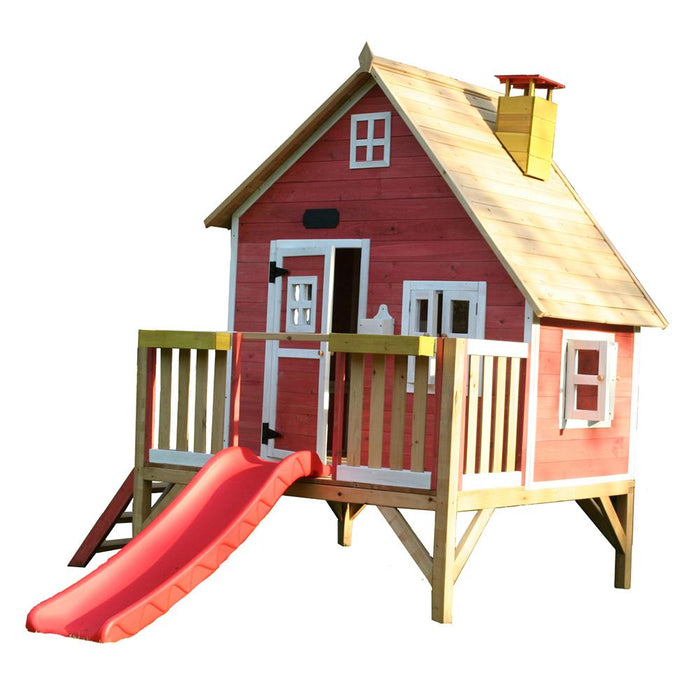 The Crooked Penthouse Raised Wooden Kids Cubby House With Slide