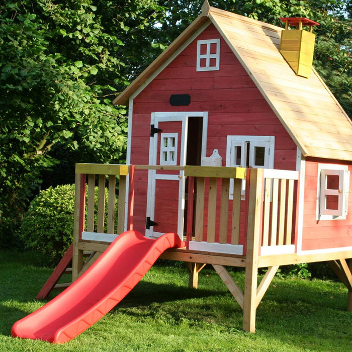 The Crooked Penthouse Raised Wooden Kids Cubby House With Slide - Kids Car Sales
