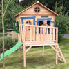 Image of The Redwood Den Raised Wooden Kids Cubby House With Slide
