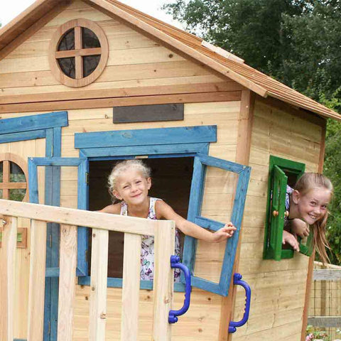 The Redwood Den Raised Wooden Kids Cubby House With Slide