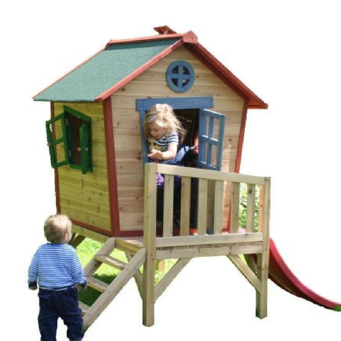 The Redwood Tower Playhouse Raised Wooden Kids Cubby House With Slide