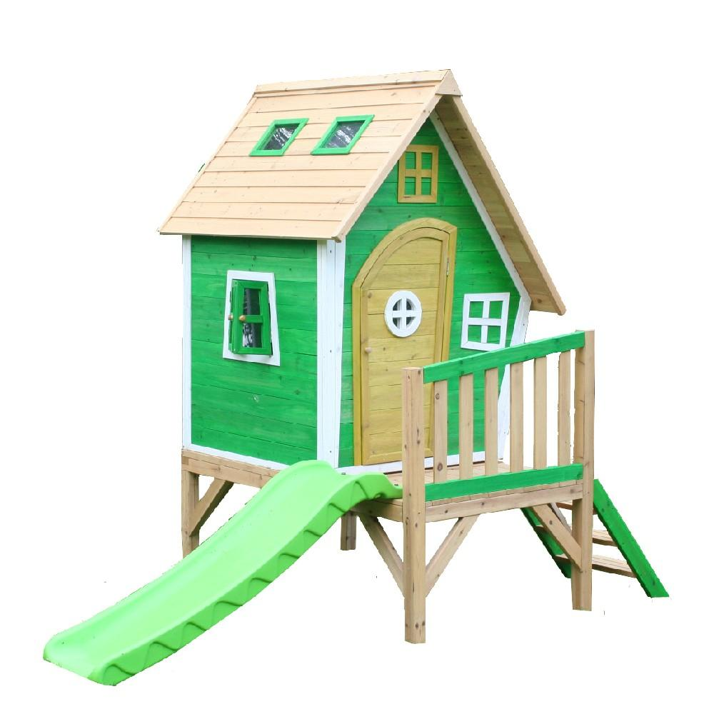 The Whacky Tower Playhouse Raised Wooden Kids Cubby House With Slide - Kids Car Sales