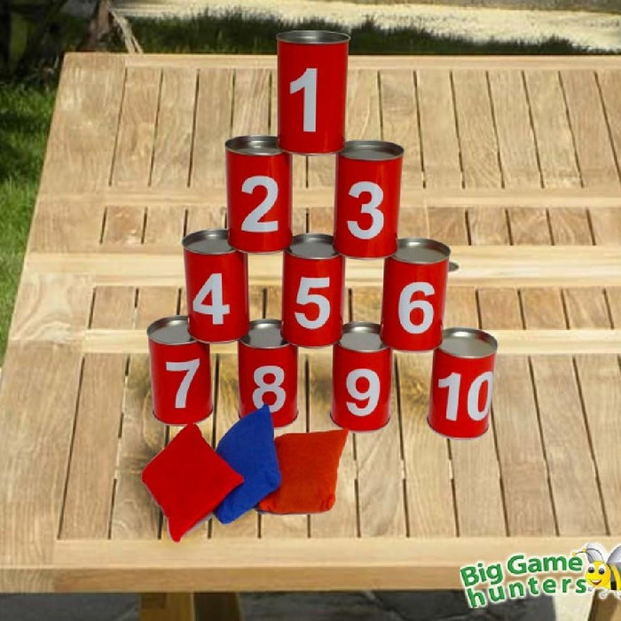 Tin Can Alley Toss Target Game 10 Cans & 3 Throwing Bags