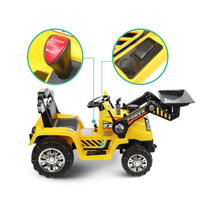 Tough Yellow & Black Dozer Tractor 6v Ride-On Kids Car