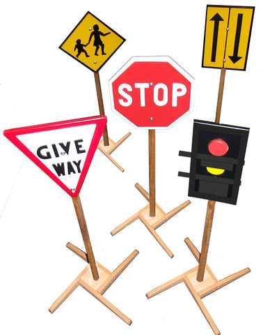 Kids Play Set Of Traffic Signs