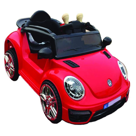 VW Beetle Inspired Red 12v Ride-On & Push Small Kids Car (Ages 1-3)