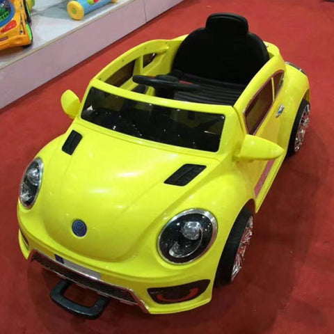 VW Beetle Inspired Yellow 12v Ride-On Kids Car