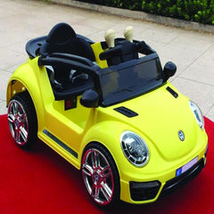 VW Beetle Inspired Yellow 12v Ride-On & Push Kids Car (Ages 1-3)