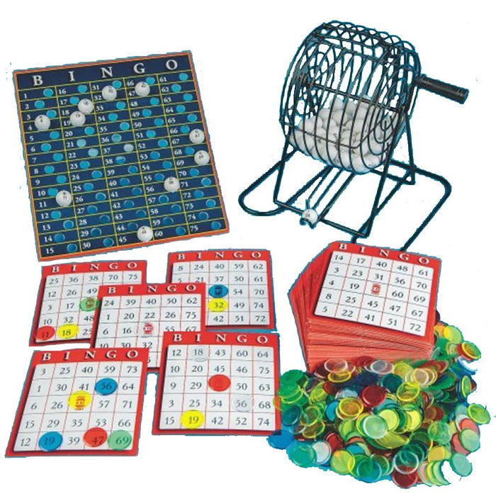 Value Bingo Game Set  With Metal Cage and Colourful Playing Chips