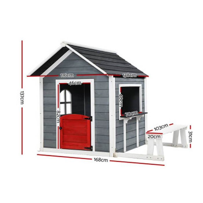 Kids Cubby House Outdoor Wooden Cottage Playhouse with Bench - Kids Car Sales
