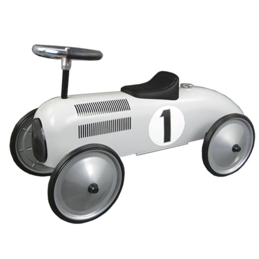 Johnco White Metal Vintage Speedster Ride On Kids Car FS897W