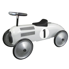 White Metal Vintage Speedster Ride On Kids Car