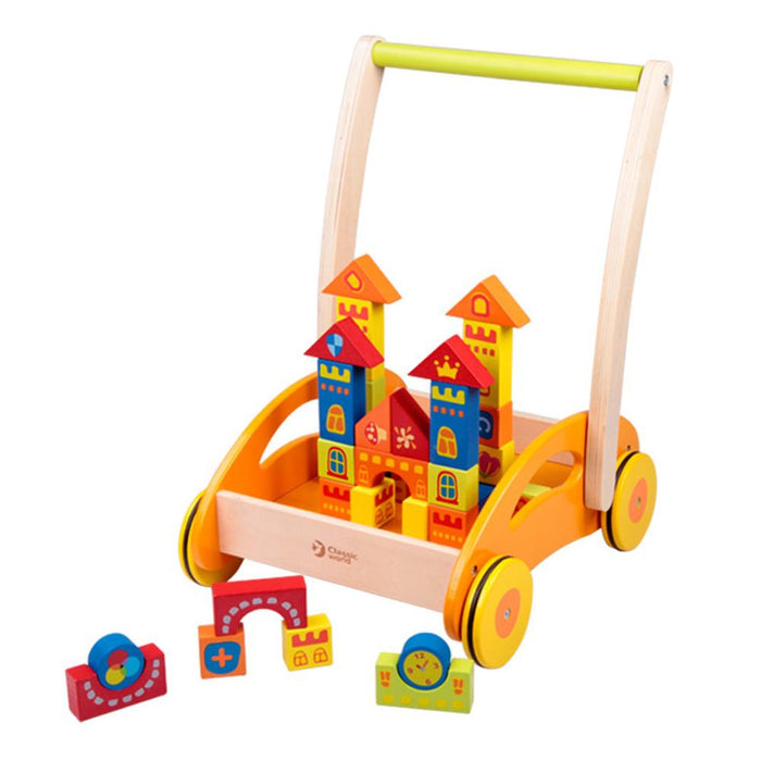 Wooden Baby Walker With Blocks by Classic World
