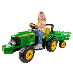 John Deere Farm Power 12v Kids Ride-On Tractor With Trailer