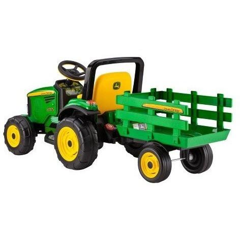 John Deere Farm Power 12v Kids Ride-On Tractor With Trailer - Kids Car Sales