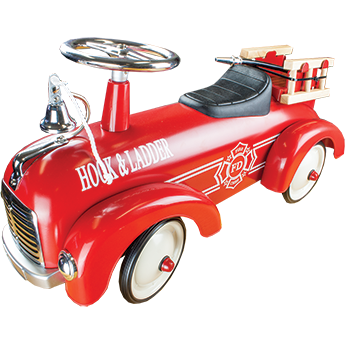 Vintage Metal Speedster Kids Ride On Fire Engine