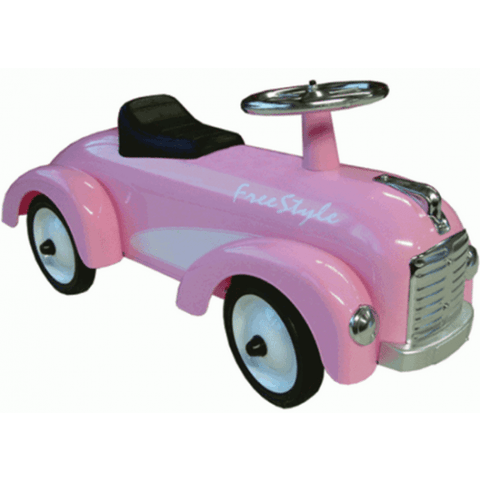 Pink Metal Vintage Speedster Kids Ride On Car