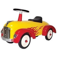 Yellow Metal Vintage Speedster Ride On Kids Car