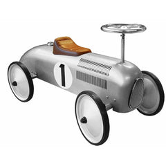 Silver Metal Vintage Speedster Ride On Kids Car