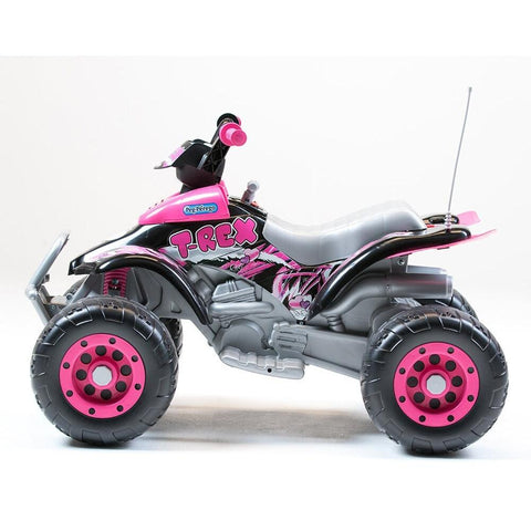 Peg Perego Corral T-Rex Pink 12v Ride-On Kids Quad Bike - Kids Car Sales