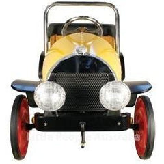 Vintage Yellow 1935 Metal Kids Ride On Pedal Car