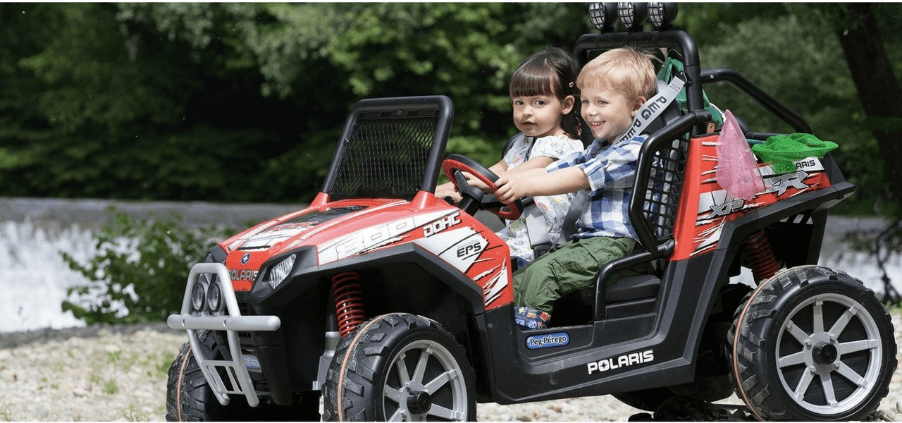 Peg perego ride on RZR polaris kids car with two kids