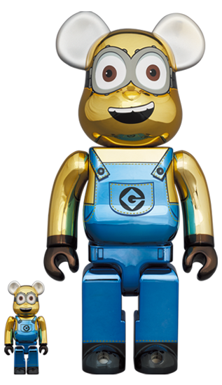 MEDICOM TOY BE@RBRICK Minion Dave Chrome Version 100% & 400% Bearbrick【Pre-Order】