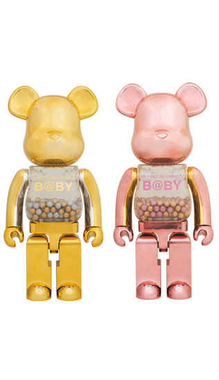 MEDICOM BE@RBRICK PINK & GOLD Ver. 1000% Bearbrick Set of 2