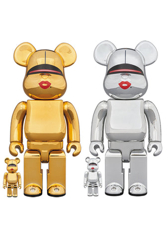 MEDICOM BE@RBRICK TYGA X SORAYAMA 100% & 400% Bearbrick Gold and Silver 2 Sets