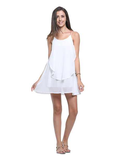 White Chain Spaghetti Strap Back Cross Asymmetric Hem Dress