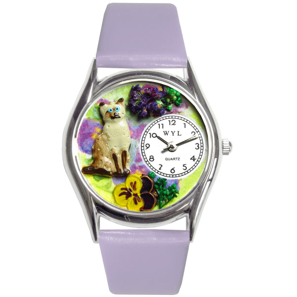 Siamese Cat Watch Small Silver Style