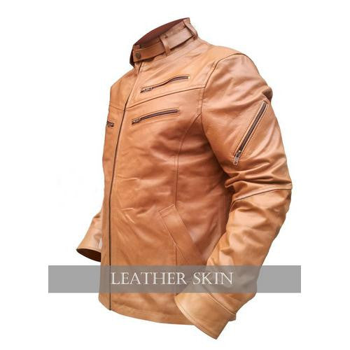 Leather Skin Stylish Skin Brown Men Style Genuine  Leather Jacket with Front Zippers