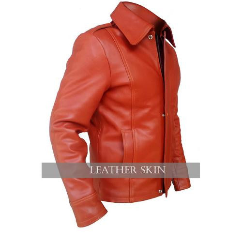 Stylish Red Men Style Genuine  Leather Jacket with Long Collar