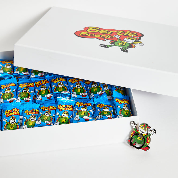 Bertie Beetle Bounty Box - 125 Bertie Beetle chocolates in a gift box with Mobile Phone Ring