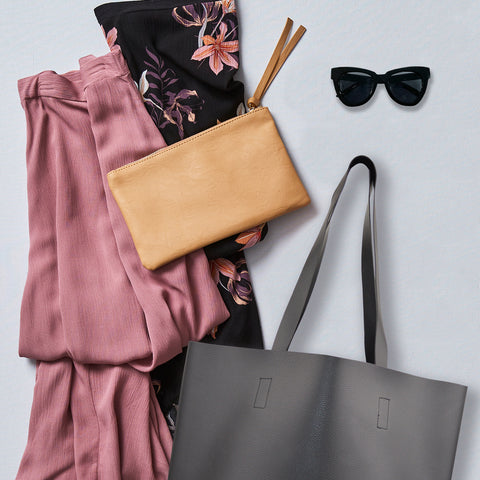 Miss Coco with Black Tote & Plum Skirt