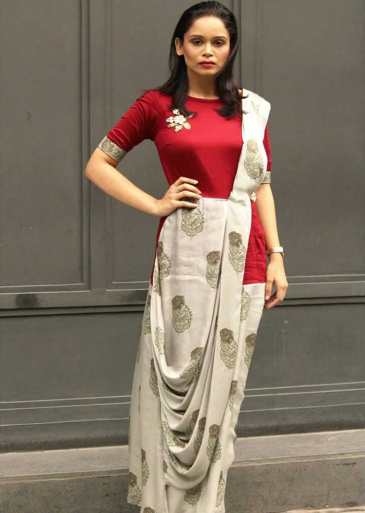 Drapy Patch Saree Gown – Ethnic Collage