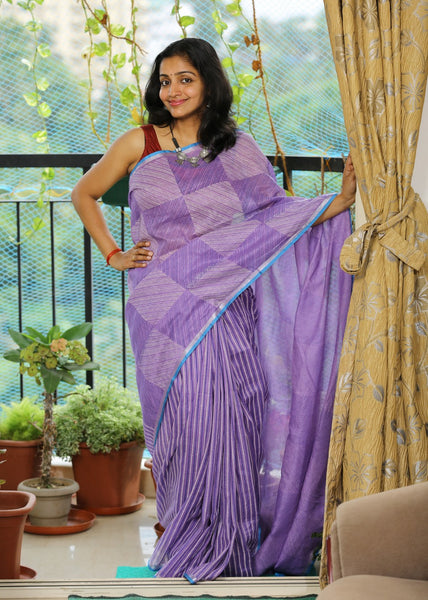 Handloom Cotton Linen Block Printed Saree