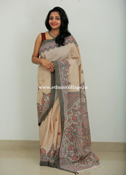 HandWoven Negamam Saree with HandPainted Mathubani Art (MBN1)
