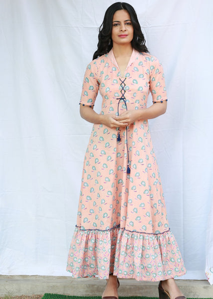 A-line Gathered Long Dress with Collar and Front Opening with Dori (Peach)