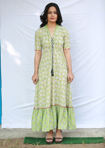A-line Gathered Long Dress with Collar and Front Opening with Dori (Green)