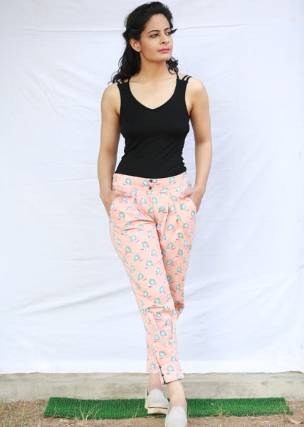 Miko Pant with Box Pleats on Front (Peach)
