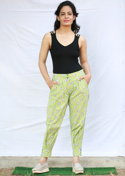 Miko Pant with Box Pleats on Front (Green)