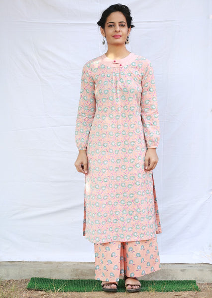 Kurta with Double Neck Opening and Gathers (Peach)