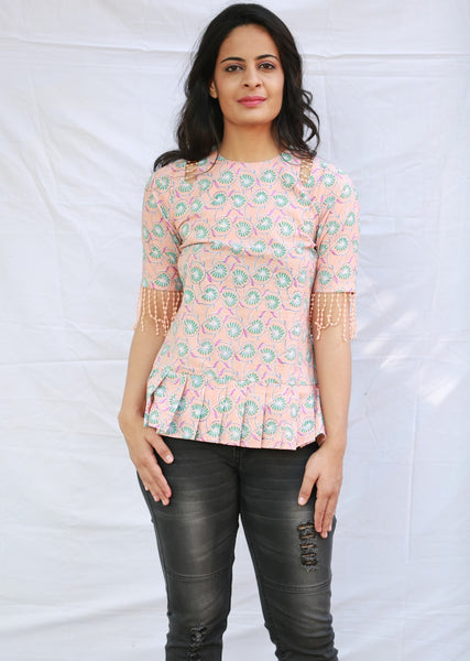Flared Top with Detailed Cut on Shoulder (Peach)