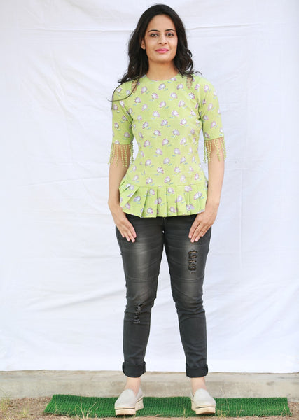 Flared Top with Detailed Cut on Shoulder (Green)